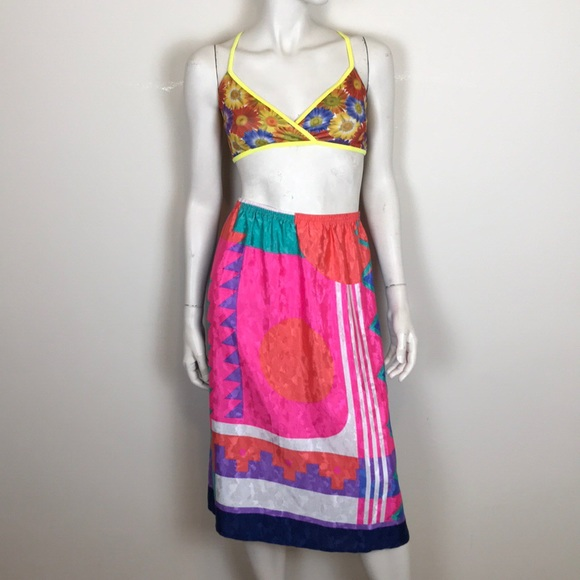 Vintage Dresses & Skirts - Vintage 80s abstract pattern midi skirt